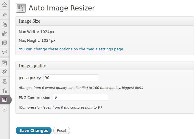Auto Image Resizer Settings